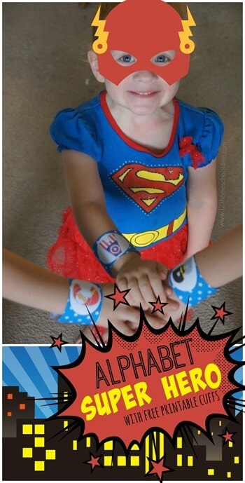 Kids are going to love using this fun super hero themed printable to learn their letters! Download the abc printable superhero cuffs to help toddler, preschool, pre k, and kindergarten age students learn their letters!