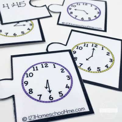 FUN telling time activity - free printble clock game to help kids practice telling time to the hour, half hour, and 15 minutes with kindergarten, grade 1 math, and grade 2 math.