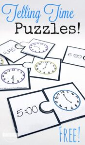 FREE Telling Time Puzzles - super cute math game to help kindergarten and first grade students learn to tell time with a clock game for kids! #mathgames #kindergarten #kindergartenmath #1stgrade #grade1math