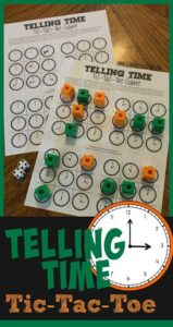 free printable telling time game for prek, kindergarten, first grade, and 2nd graders