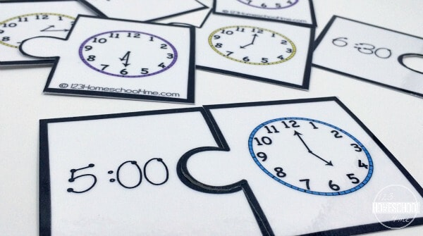 these handy math puzzles are a great time games for teaching prek, kindergarten, and first graders to tell time to the hour and half hour