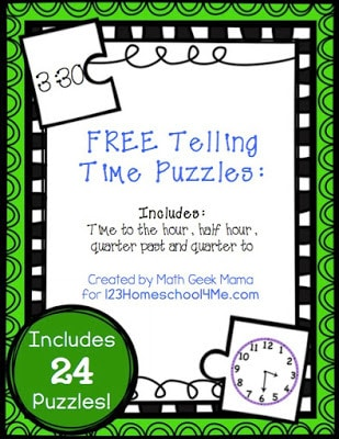 free printable time puzzles for kindergarnters and first graders