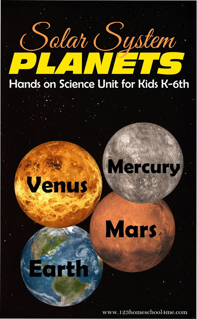 Inner Planets Hands on Science Unit for Kids K-6th Grade! Lots of fun ideas for kids learning about the 4 inner planets - mercury, venus, mars, and earth. Includes free solar system worksheets for elementary age kids #solarsystem #innerplanets #scienceunit