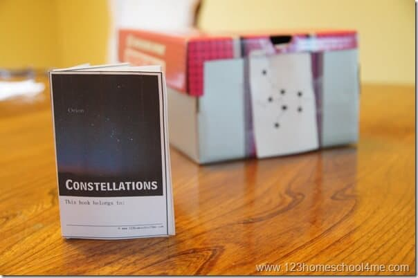 Printable Constellation Projection Cards to use with this constellation project to make a star planetarium at home science project