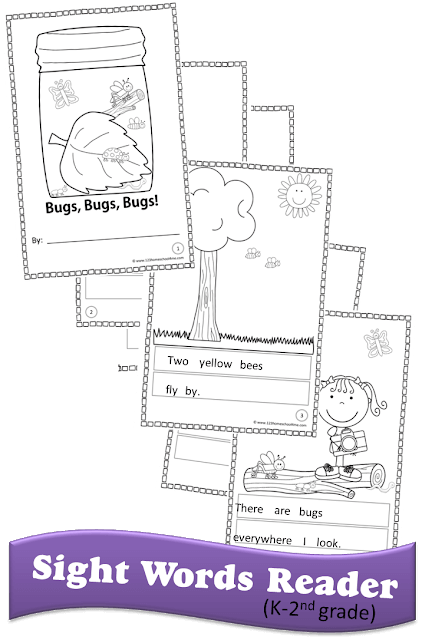 This Bugs themed free printable Sight Word Reader is another funsight word cut and pastewhere students will Create-Your-Own Reader. This emergent reader is all about insects which makes it perfect for spring, summer, or fall. This sight words printable is made up almost entirely of preschool, pre-k, kindergarten, and first grade sight words making it a great sight words activity to improve reading fluency.Simply print pdf file withfree printable sight word books and you are ready to work on reading fluency with aspring activities.
