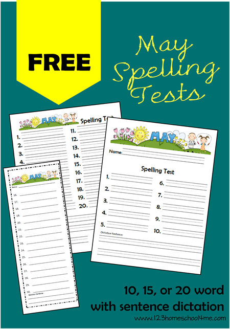 May SPelling Test for Homeschoolers