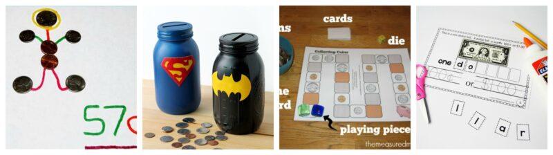 Money Games and activities for kindergarten, first grade, and 2nd grade kids