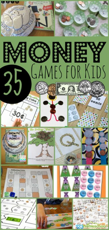 35 Money Games for Kids to teach Preschool, Kindergarten, 1st grade, 2nd grade and 3rd grade math #moneygames #Mathgames #countingcoins