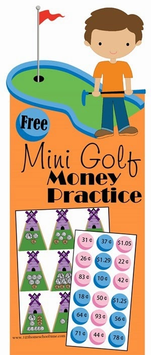 FREE Mini Golf Money Practice - this fun money games for kids is such a fun math game for Kindergarten, 1st grade, and 2nd grade kids. #moneygames #mathgames #homeschooling