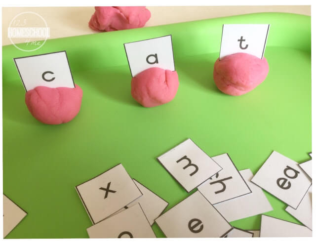 phonics activity using playdough and letter cards