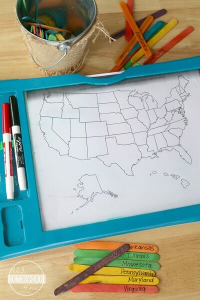 review the 50 us state geography game for kids