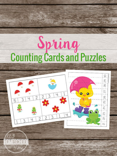 April showers not only bring may flowers, but a chance to sneak in some funspring counting pratice for kids too. THis pack of spring will love practicing spring math with these free printable spring counting cards and puzzles. Simply download spring math and you are ready to play and learn with a Spring math activities for preschoolers.