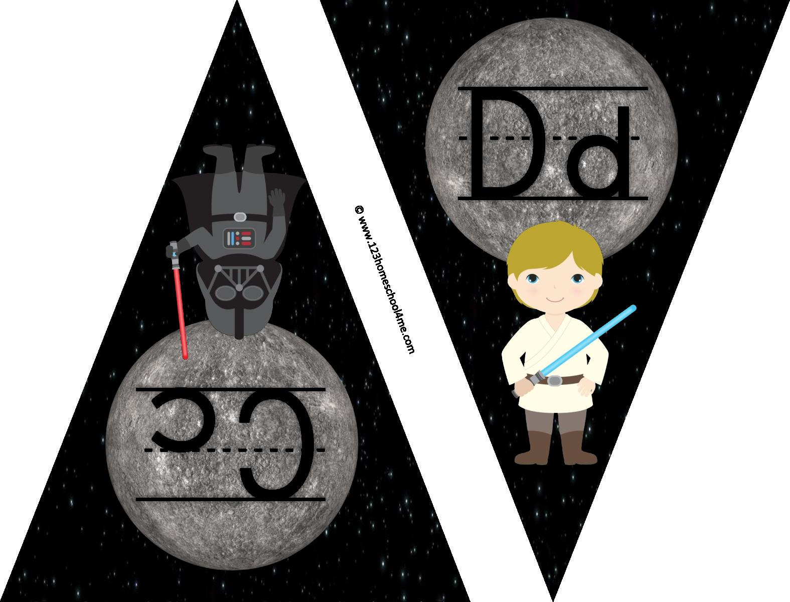 Kids will have fun with these out of the this world tar wars alphabet.