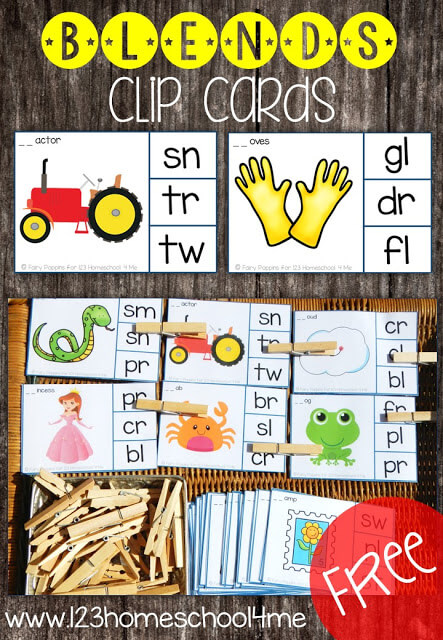 FREE Blends Clip Cards - these are such a fun, low prep activity for helping 1st grade and 2nd grade students practice consonant blends (blends activities, blends activities free, blends activities first grade)
