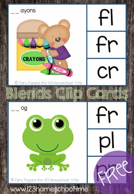 Free Printable Blending Cards for first grade phonics practice