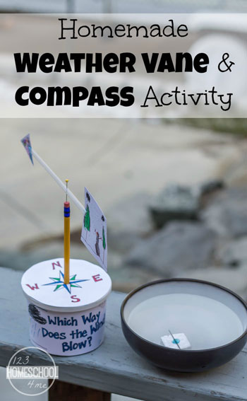 Homemade Weather Vane Science Project and DIY Compass will help kids have fun while learning about weather. This is a great science experiment for kindergarten, first grade, second grade, 3rd grade, 4th grade, 5th grade