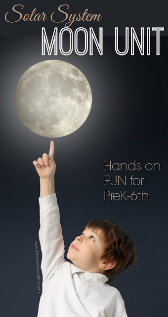 Moon Unit - This moon unit study has fun, hands on science projects for elementary. These are great for learning about the solar system in Preschool, Kindergarten, first grade, second grade, third grade, 4th grade, 5th grade and 6th grade - moon phases, astronauts, and LOTS more!