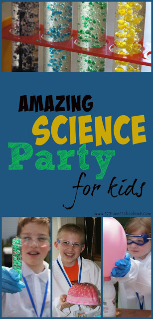 Science Party for Kids with tons of fun kids science experiments for preschool, prek, kindergarten, first grade, second grade, third grade, or for a science camp, homeschool science, after school science activities and more. Great kids activities to add to your summer bucket list.