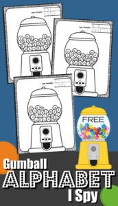 FREE I Spy Gumball Letters - kids will have fun practicing finding alphabet letters in these clever, free printable alphabet worksheets perfect for preschool, prek, and kindergarten age kids #alphabet #preschool #kindergarten