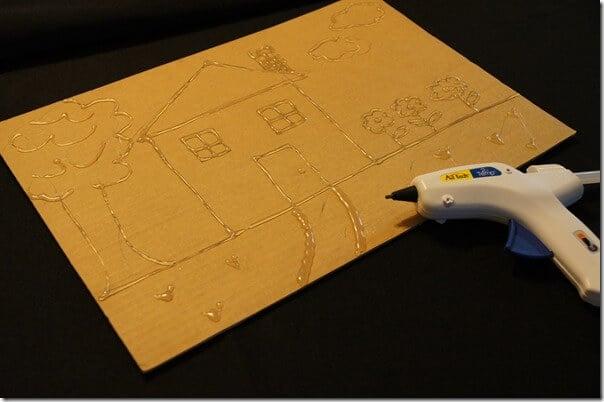 glue gun and cardboard craft for kids