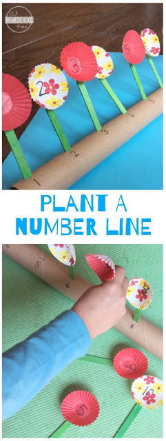 Plant a Number Line - this fun clever math activity for toddler, preschool, kindergarten allows kids to practice counting using an interactive number line with a spring theme #numberline #mathactivity #kindergarten