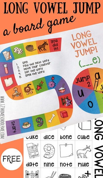 picture relating to Printable Short Vowel Games named No cost Prolonged Vowel Bounce Board Activity 123 Homeschool 4 Me