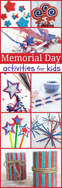 20 Memorial Day Activities for Kids that are perfect for helping kids celebrate Memorial Day in May.  #memorialday #kidsactivities