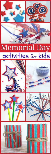 20 Memorial Day Crafts for Kids and kids activities perfect for helping kids celebrate Memorial Day in May.