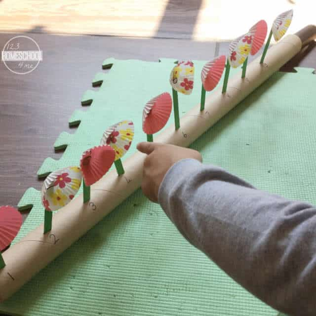 spring flower number line to 10 counting activity for kids