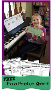 Kids will love these clever, free printable Piano Practice Sheets. Your young musician will have fun keeping track of how long they have practiced the piano, guitar, flute, trumpet, or other musical instrument as they hole punch the musical notes! Such a cute idea for piano teachers, parents, and homeschoolers.