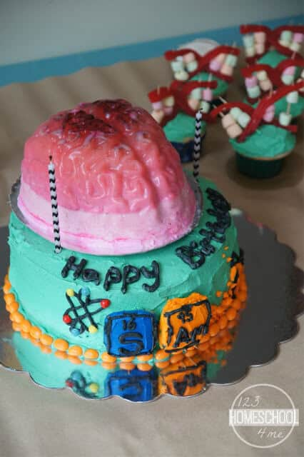 amazing science cake with periodic table and brain