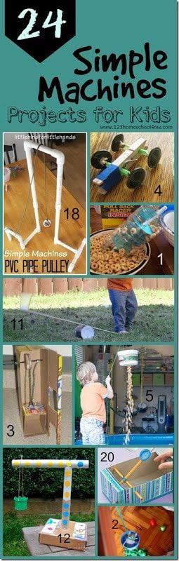 30Simple Machines projects for kids - so many clever, fun, and unique science experiments to explore simple machines for classroom, science project, and homeschool for kindergarten, first grade, second grade, third grade, fourth grade, and fifth grade. PLUS love the 5 week unit diving more in depth along with free printable simple machine worksheets for kids!! #simplemachines #scienceactivities #homeschooling