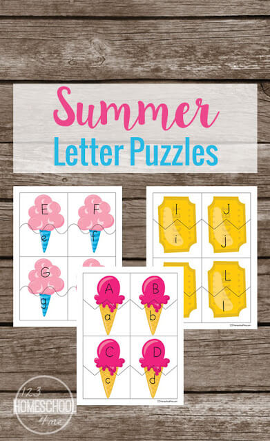FREE Summer Alphabet Puzzles - Preschoolers and Kindergarteners will have fun matching upper and lowercase letters with this summer themed ice cream activity.#alphabet #preschool #kindergarten