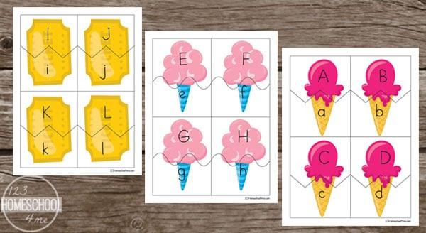 summer alphabet letter puzzles