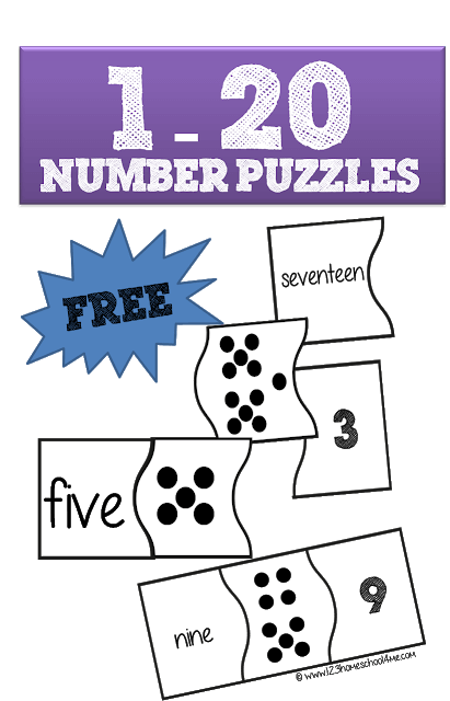photograph about Printable Puzzles for Preschoolers named Cost-free Figures 1-20 Puzzles 123 Homeschool 4 Me