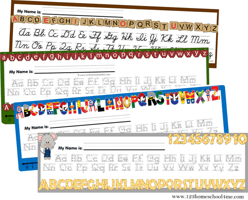 Free Alphabet Line Printable with various templates to choose from to help prreschool, pre k, kindergaten, and 1st grade students write upper and lowercase letters correctly