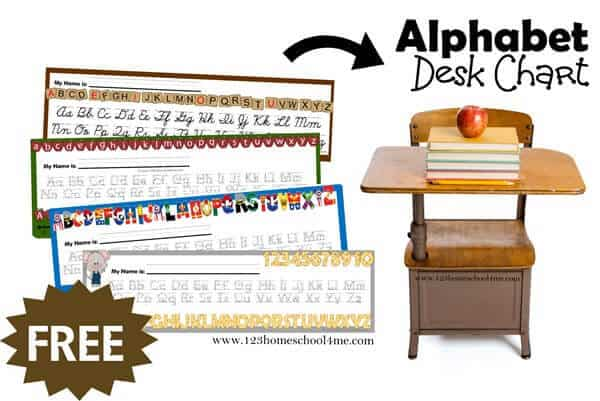 Free Alphabet Line for Desk to help prek and kindergarten age kids see how to make uppercase and lowercase letters
