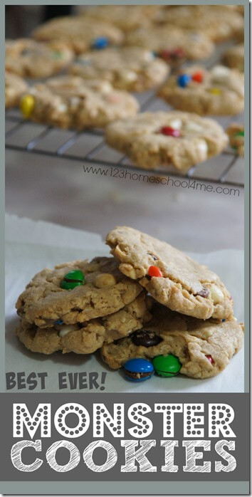 Best Monster Cookies Recipe - this cookie recipes is AMAZING! It tastes better than fancy store bought ones. Great recipes for kids snacks or for kids to help you make.