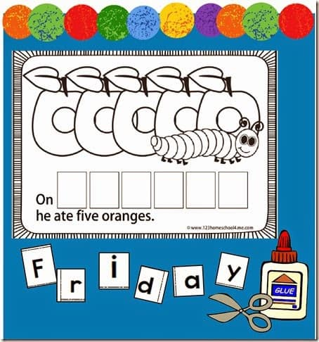 help prek, kindergarten, and first graders leran the days of the week with this hungry caterpillar themed, Days of the Week Book Printable
