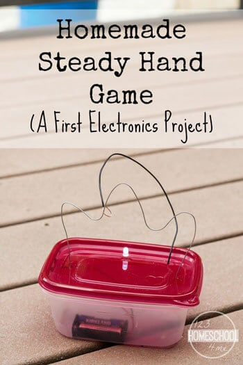 Electronics Project for Kids - Kids will be amazed as they learn about electricity while making this steady hand electronics game. This is such a fun science project that while help them learn as they play! Great for kindergarten, first grade, second grade, third grade, fourth grade, fifth grade, sixth grade, and more for after school, science fair project, homeschooling, and more! #electronics #steam #kidsactivities