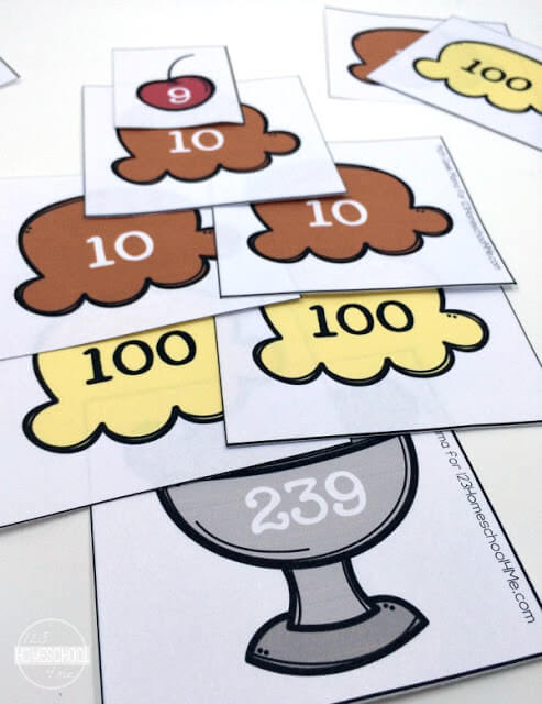 kids can build their place value sundae straight up or creatively