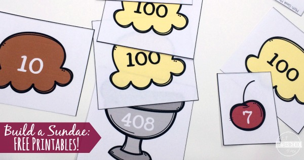 Free printable math activity to help kids visualize place value - ones, tens, and hundreds place