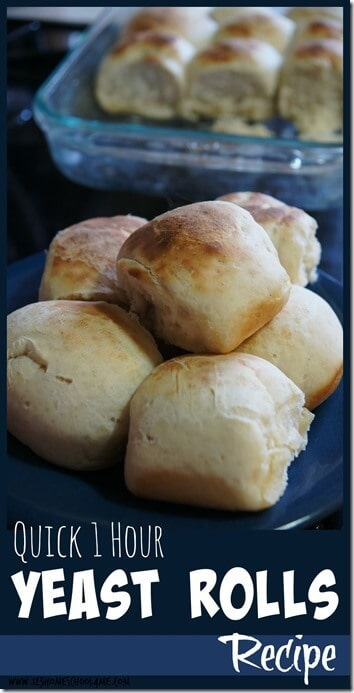 Quick and Easy Yeast Rolls - these delicious, easy-to-make dinner rolls are homemade and ready in 1 hour! YUMMY #recipes #rolls #dinner