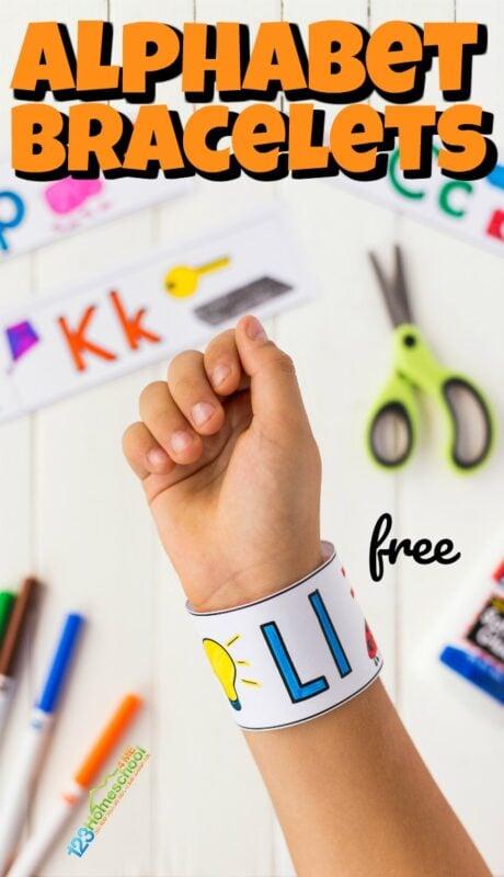 FREE Printable Alphabet Bracelets. #alphabetbracelets #ABCbracelets #alphabetpractice #freehomeschooldeals #fhdhomeschoolers
