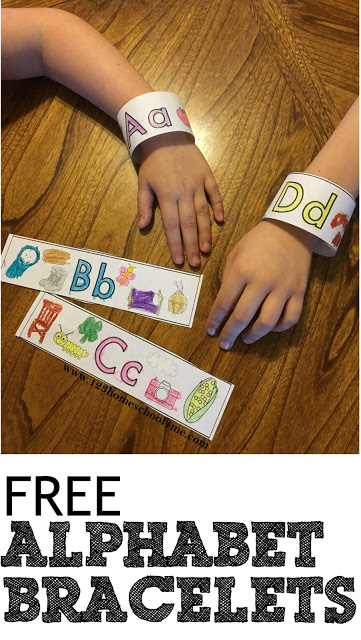 If your children are working on learning their alphabet letters, they are going to love these super cute, free printable,Printable Alphabet Bracelets. This alphabet printable is a handy resource for toddler, preschool, pre k, and kindergarten students learning their ABCs. Simply print template, color the pictures with the featured beginning letter, and listen for the same beginning sound. This ABC printable is a great resource for a letter of the week program!