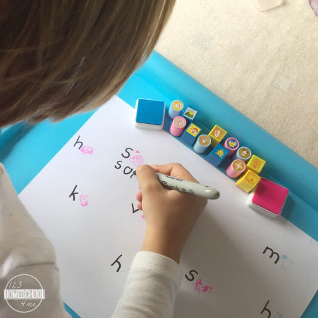beginning sounds, stamps, and writing words activity for kids