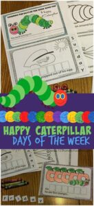 FREE Hungry Caterpillar Days of the Week Printable - this free printable math activity for preschoolers, kindergartners, and first graders is such a fun way for kids to learn the 7 days of the week. Print the days of the week activities and complete the cut and paste and make into a fun emergent reader. #daysoftheweek #hungrycaterpillar #prek #kindergarten #1stgrade