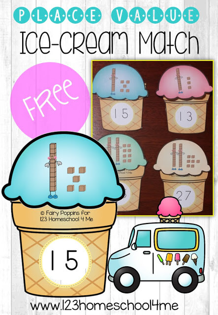 FREE Place Value Ice Cream Match - this is such a fun way for kindergarten, first grade, and second grade kids to practice counting tens and ones! This math games is perfect for summer learning, after school math practice, homeschooling, or an educational kids activities. SO CUTE! #placevalue #icecreamtheme #kindergartenmath