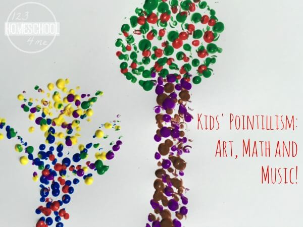 pointillism kids activiites to help kid learn math, art and music
