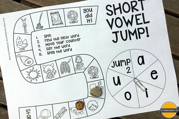 photo relating to Printable Short Vowel Games referred to as Totally free Small Vowel Board Match 123 Homeschool 4 Me